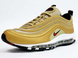 61bcd2f7fe Yesterday unvailed one of the most sought after Nike Air Max 97's releases.  The Metallic Gold/Varsity Red/Black ...